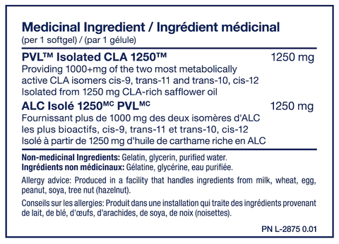 PVL Isolated CLA 1250 Weight Loss Support Nutrition Facts at Supplement Superstore Canada