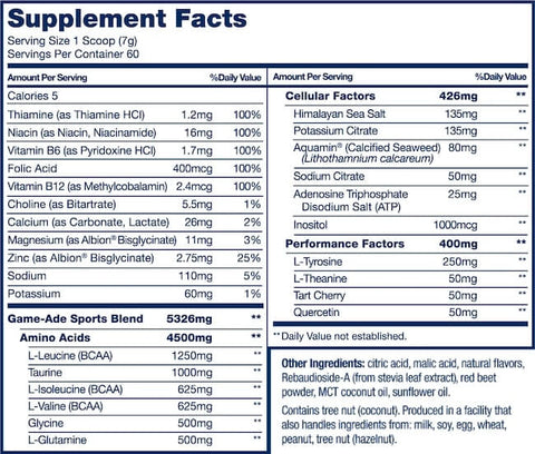 PVL Game-ade Nutrition Facts at Supplement Superstore Canada