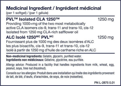 PVL Isolated CLA 1250 Nutrition Facts at Supplement Superstore Canada