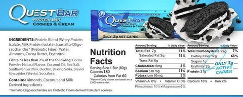 Quest Protein Bar Nutrition Facts at Supplement Superstore Canada