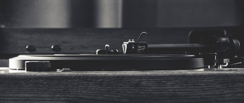 Black and White close up of record player