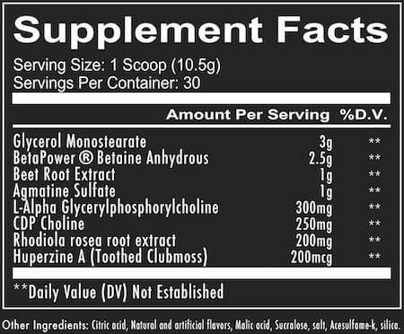RedCon1 Big Noise Nutrition Facts at Supplement Superstore Canada