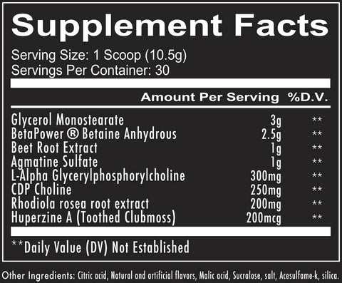 RedCon1 Big Noise Pre Workout Supplement Nutrition Facts