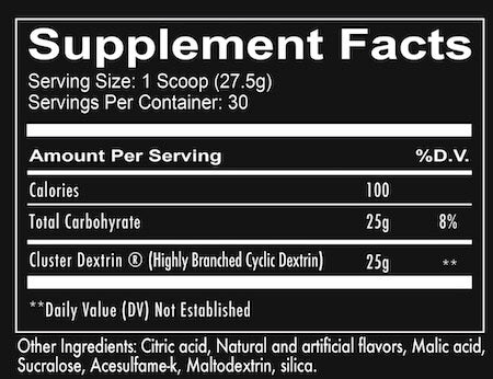 RedCon1 Cluster Bomb Nutrition Facts at Supplement Superstore Canada