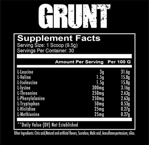 RedCon1 Grunt EAA Nutrition Facts at Supplement Superstore Canada