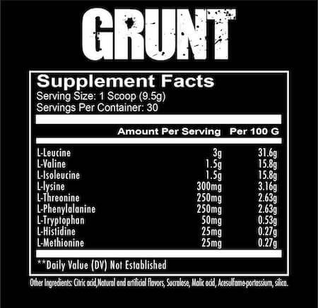 RedCon1 Grunt Nutrition Facts at Supplement Superstore Canada