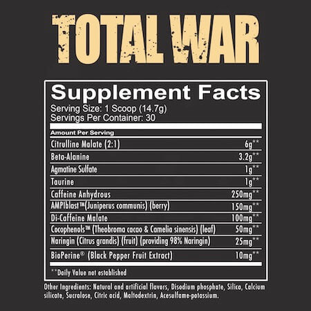 RedCon1 Total War Nutrition Facts at Supplement Superstore Canada