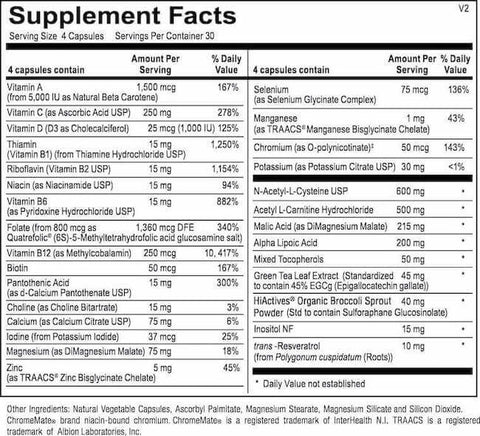 Revive MD Immune Multi Nutrition Facts at Supplement Superstore Canada