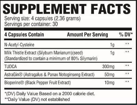 Revive MD Liver Nutrition Facts at Supplement Superstore Canada
