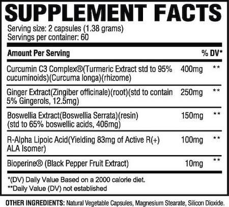 Revive MD Turmeric Nutrition Facts at Supplement Superstore Canada