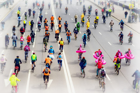 Road filled of cyclist race