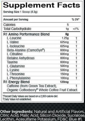 Rule One Pre-Amino Energy Nutrition Facts at Supplement Superstore Canada