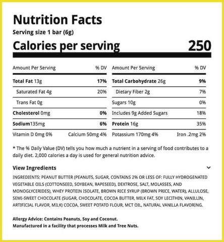 Ryse Loaded Protein Bar Nutrition Facts at Supplement Superstore Canada