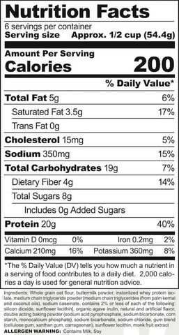 Ryse Protein Pancakes Nutrition Facts at Supplement Superstore Canada