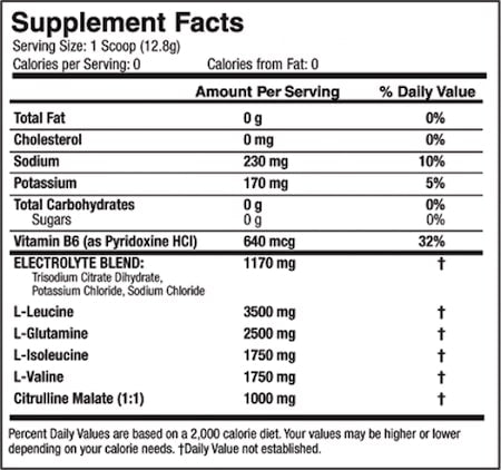 Scivation Xtend BCAAs Nutrition Facts at Supplement Superstore Canada