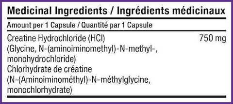 SD Pharmaceuticals Creatine HCL Capsules Nutrition Facts at Supplement Superstore Canada