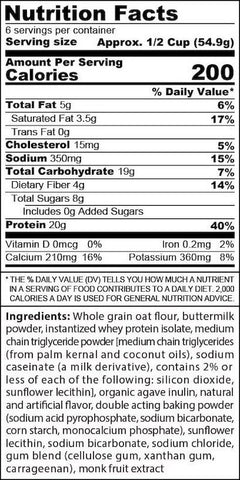 SinFit Protein Pancake and Waffle Mix Nutrition Facts at Supplement Superstore Canada