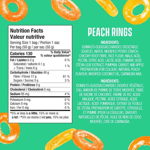 Smart Sweets Peach Rings Nutrition Facts at Supplement Superstore Canada