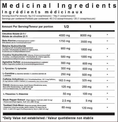 TC Nutrition Batch 27 Nutrition Facts at Supplement Superstore Canada