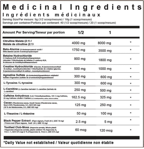 TC Nutrition Batch 27 Pre-Workout Supplement Nutrition Facts SVN Canada