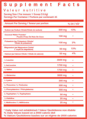 TC Nutrition Hydramino EAA BCAA Supplement Nutrition Facts SVN Canada