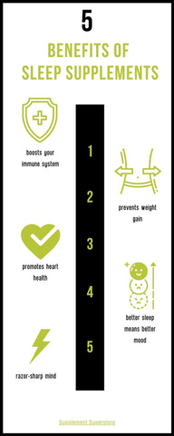 Infographic on the Five Benefits of Sleep Supplements