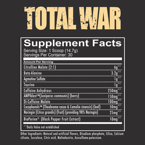 RedCon1 Total War Pre Workout Nutrition Facts at Supplement Superstore Canada
