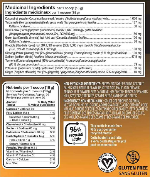 Vega Sport Pre Workout Energizer Nutrition Facts