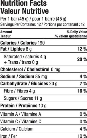 Vega Protein Snack Bar Nutrition Facts at Supplement Superstore Canada