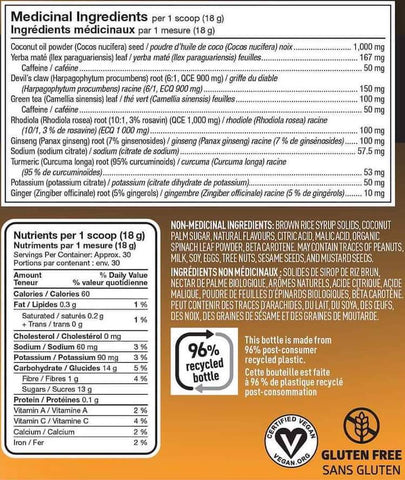 Vega Sport Pre-Workout Energizer Nutrition Facts at Supplement Superstore Canada