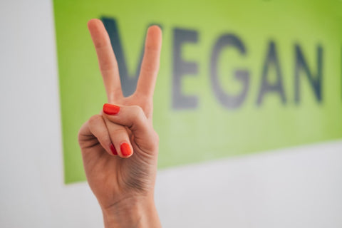 """""""Vegan"""" with two fingers as the V"""