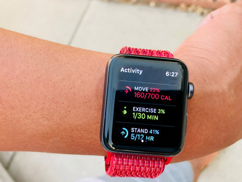 Apple Watch with workout statistics