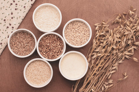 Small dishes full of whole grain grains