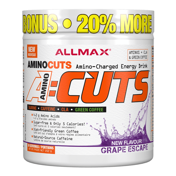 "Allmax A:Cuts BCAA + Energy 36 Servings ""Bonus Size"" / Grape Escape at Supplement Superstore Canada"