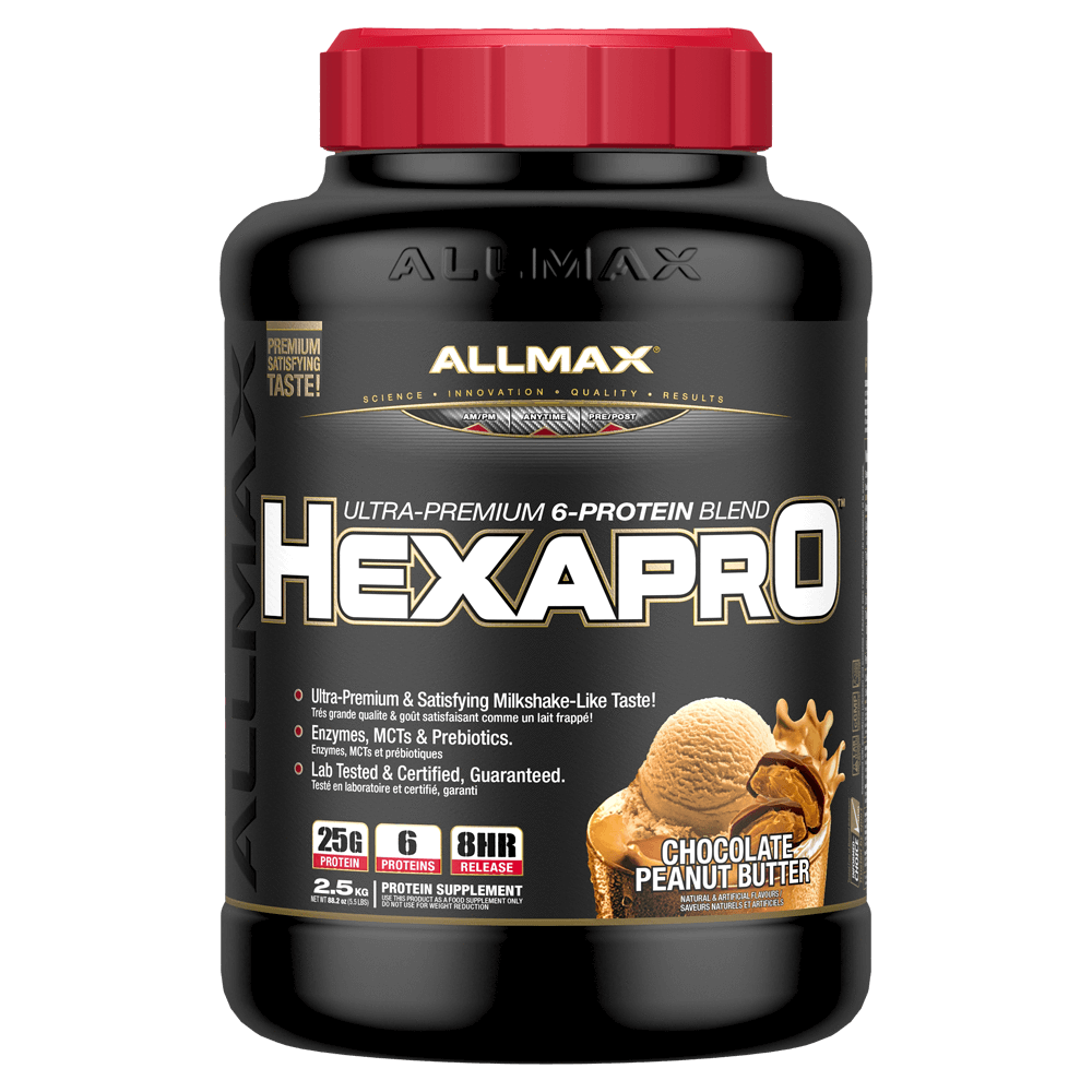 Allmax HexaPro Sustained Release Protein 5.5lb / Chocolate Peanut Butter at Supplement Superstore Canada