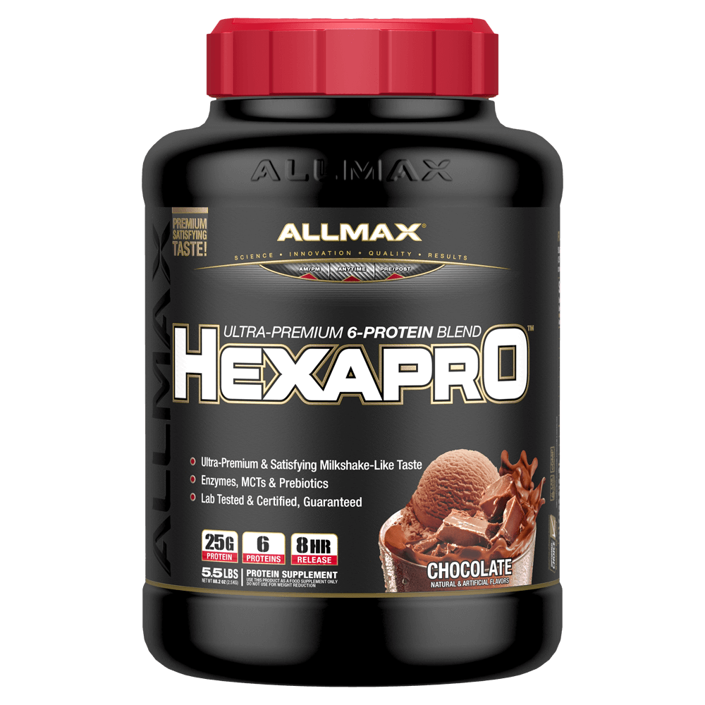 Allmax HexaPro Sustained Release Protein 5.5lb / Chocolate at Supplement Superstore Canada