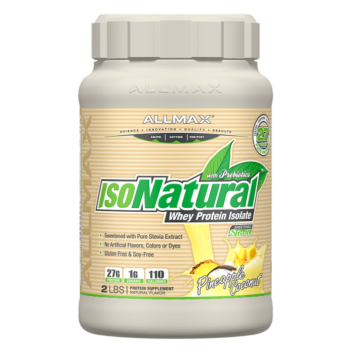 Allmax IsoNatural Whey Protein Isolate 2lb / Pineapple Coconut at Supplement Superstore Canada
