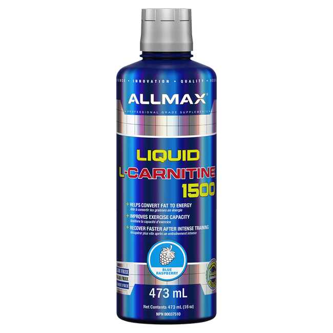 Blue Raspberry L Carnitine Liquid by Allmax Fat Burner Weight Loss Support at Supplement Superstore Canada