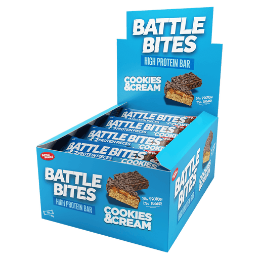Battle Snacks Battle Bites Protein Bars Box of 12 / Cookies & Cream at Supplement Superstore Canada 5060318691593
