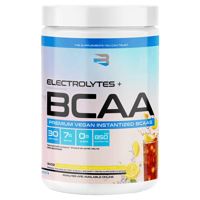 Believe Supplements Electrolytes + BCAA Amino Acid Supplements 30 Servings / Lemon Iced Tea at Supplement Superstore Canada 628055911135