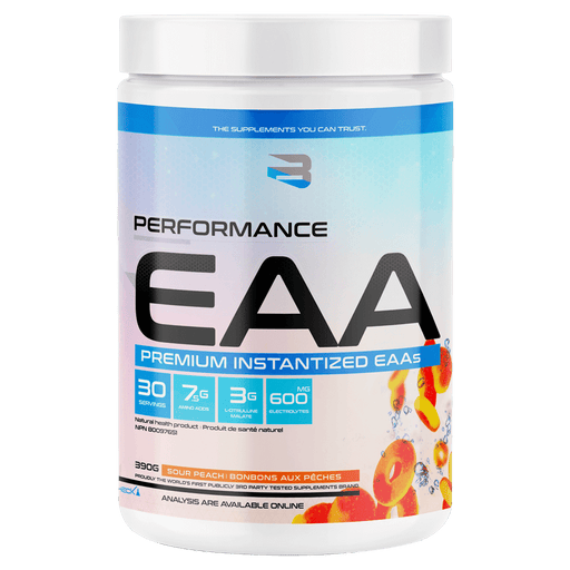 Believe Supplements Performance EAA Amino Acid Supplements 30 Servings / Sour Peach at Supplement Superstore Canada 628055911869