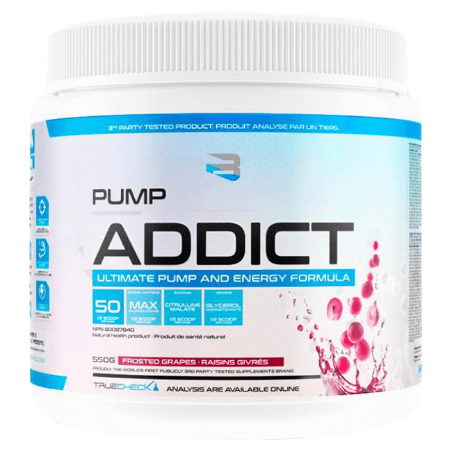 Believe Supplements Pump Addict Pre-Workout 50 Servings / Frosted Grapes at Supplement Superstore Canada