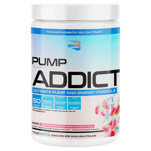 Believe Supplements Pump Addict Pre-Workout Supplements 50 Servings / Sour Watermelons at Supplement Superstore Canada 628055911678