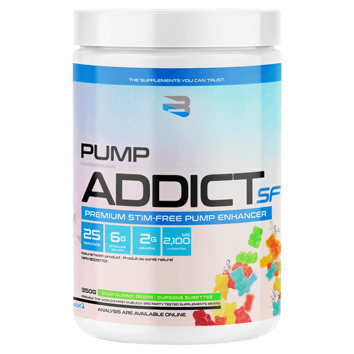 Believe Supplements Pump Addict SF Pre-Workout Supplements 25 Servings / Sour Gummy Bears at Supplement Superstore Canada 628055911890
