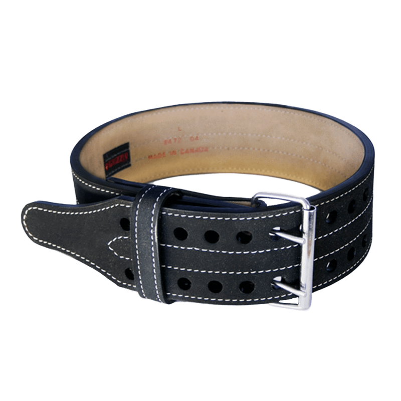 Grizzly Fitness Double Prong Leather Power Lifting Belt Belt 4 Inch / Black / Extra Large at Supplement Superstore Canada