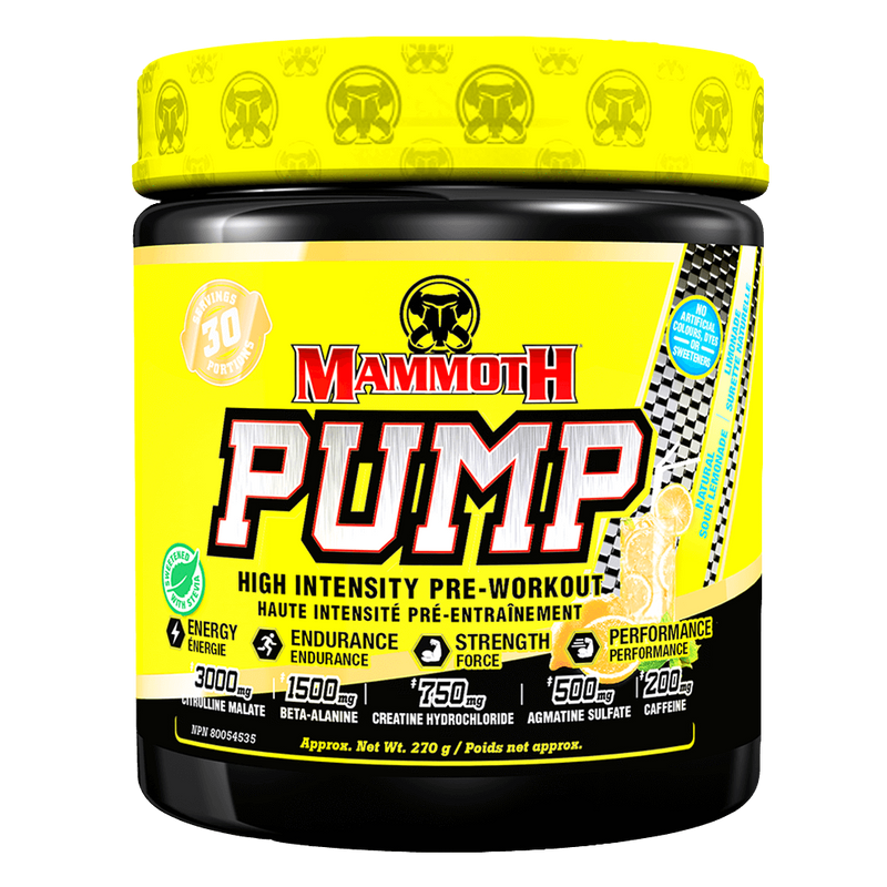 Mammoth Pump Natural Pre-Workout 60 Servings / Natural Sour Lemonade at Supplement Superstore Canada