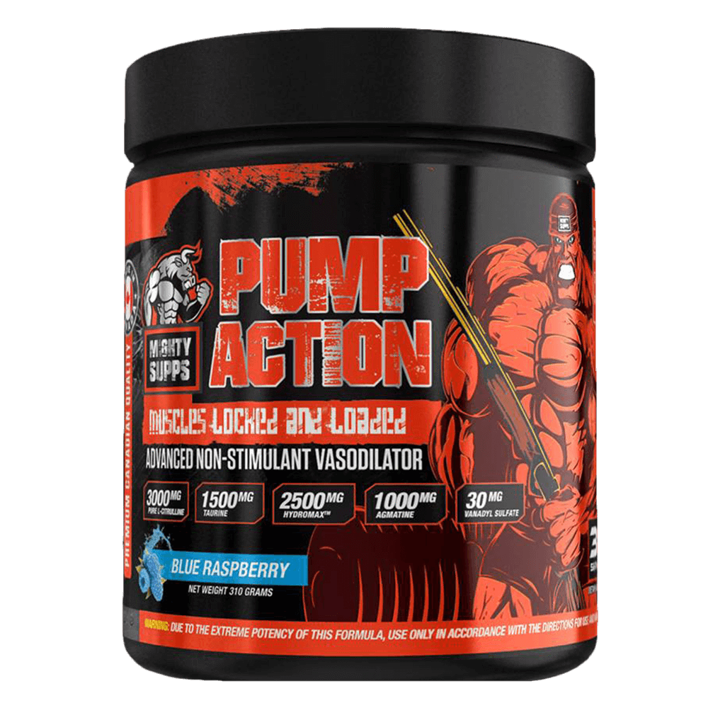 Mighty Supps Pump Action Pump & Vasodilator 30 Servings / Blue Raspberry at Supplement Superstore Canada