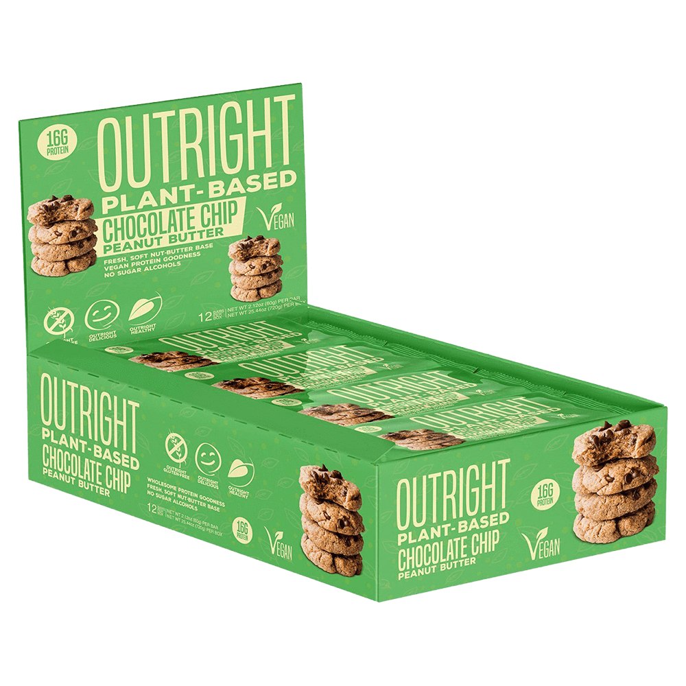 MTS Nutrition Outright Plant-Based Bar Protein Bar Box of 12 / Chocolate Chip Peanut Butter at Supplement Superstore Canada