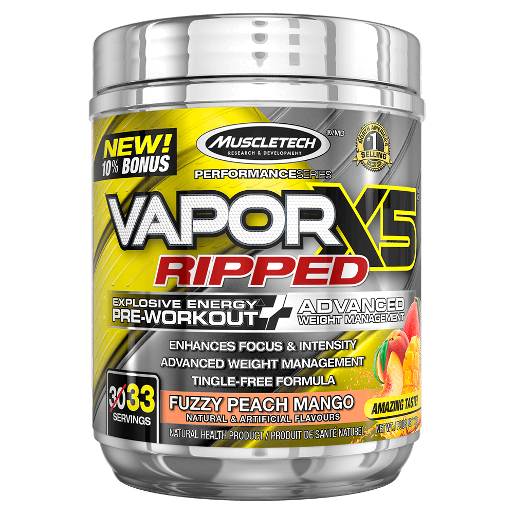 "MuscleTech VaporX5 Ripped Pre Workout 33 Servings ""Bonus Size"" / Fuzzy Peach Mango at Supplement Superstore Canada"