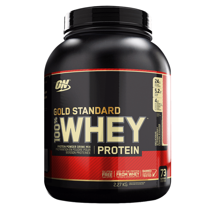 Optimum Nutrition Gold Standard 100% Whey Protein Mixed Source Whey Protein 5lb / Delicious Strawberry at Supplement Superstore Canada
